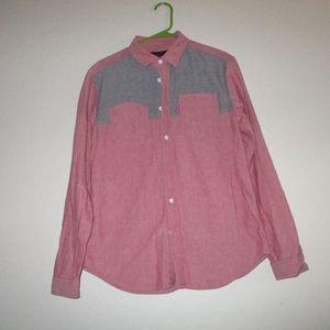 Mishka mnwka button up down shirt pink chambray M